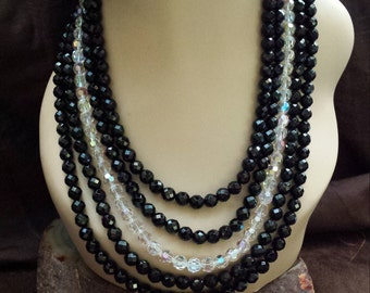 Five strand faceted black onyx and vintage rainbow crystal necklace made by petronella designs