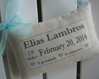 Birth Announcement Pillow, Baptism Gift, Nursery, New Baby, Personalized Kids Sign, Newborn, Custom Baby Name