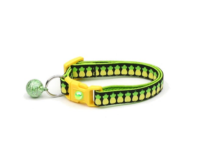 Fruit Cat Collar - Pineapples on Black - Small Cat / Kitten Size or Large Size