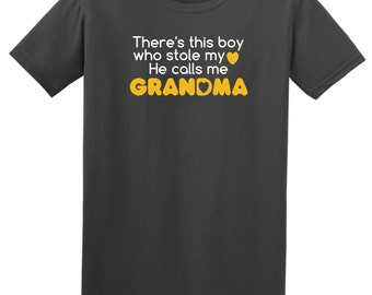 There's this boy who stole my heart he calls me GRANDMA T Shirt Mother's Day Gift Idea Grandmother - Charcoal, White and Yellow