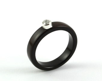 Ebony Wood Engagement Ring With 3mm Cubic Zirconia stone in Sterling Silver Bezel