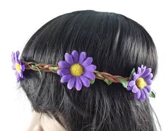 Daisy - purple flower Crown headband