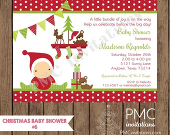 Custom printed chevron floral baby shower invitations 100 custom printed christmas baby shower invitations 100 each with envelope filmwisefo Choice Image