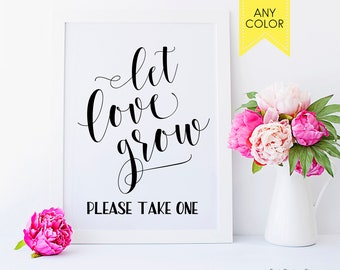 Let love grow sign Succulent favor sign Rustic wedding sign Let love grow tag Seed packets sign Printable signs Succulent sign Favor sign