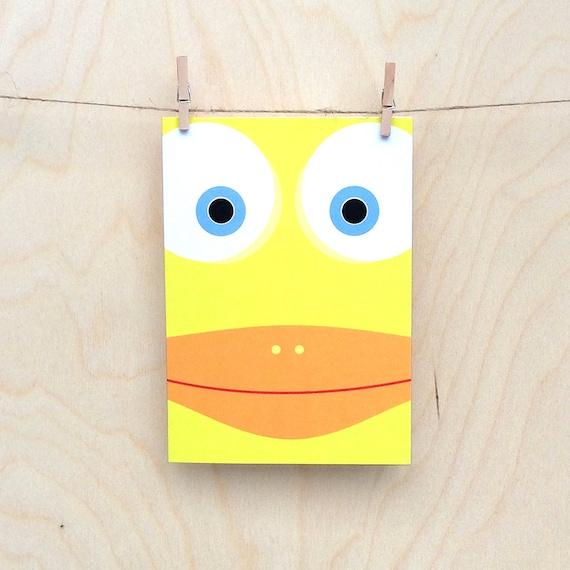 funny duck card, cute duck card, child's duck card, kids duck card