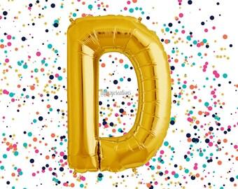 "Letter Balloon Gold 40"" / Wedding Balloons / ""D"" Mylar Balloon / Metallic Gold Letter Balloons / Gold Number Balloon / Gold Balloon"