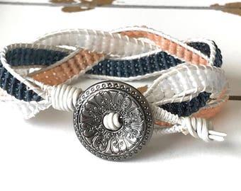 Beaded braided cuff bracelet.