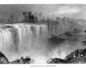 Rochester, New York - View of Genessee Falls - Vintage Photograph (Art Print - Multiple Sizes Available)