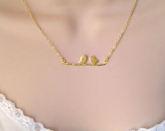 Gold  Bird Necklace, Bird Necklace, Bird on a Branch Necklace, Gold Necklace, Bridesmaid Gift, Gift for Girls, British Seller UK, Woodland