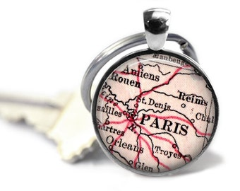 Custom Paris Keychain, France Keychains, Paris Key Chain, Birthday Gift, Travel keychain, Gift for Her, Gift for Him, Paris, France, A177