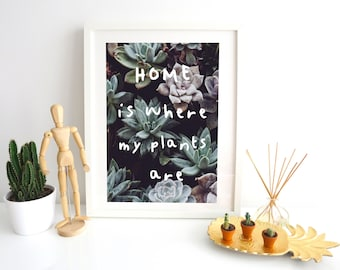 Home is where my plants are,  Digital wall art print A4 A5 A6