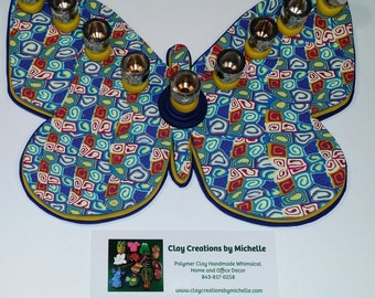 Butterfly - Silhouette Menorah - Blue, Yellow, and Fuchsia Retro