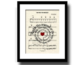Maybe I'm Amazed Song Lyric Sheet Music Art Print, Song Lyric Art, Wedding Gift, Anniversary Gift, First Dance, Spiral Lyric, Names and Date