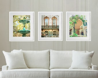 Savannah Art, Set of 3, Savannah Photography, Savannah Print Set, Fountain, Southern Home, Decor, Architectural, Romantic Decor, Green Wall