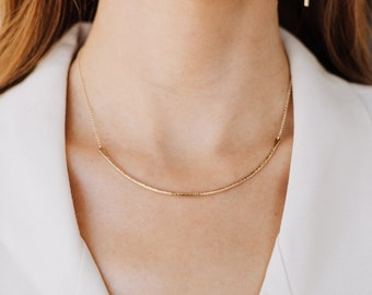 Gold Collar Necklace , Curved Long Bar Choker , Everyday Necklace , Gold , Rose Gold , Sterling Silver , Textured Gifts Under 50 - Contour