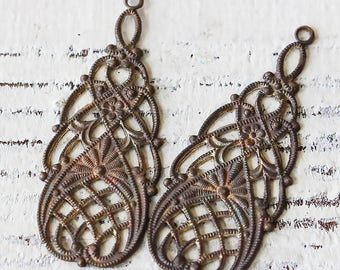 Art Deco Filigree Brass Findings - Earring Parts Components For Jewelry Making - Supplies - (4 pieces) 35mm