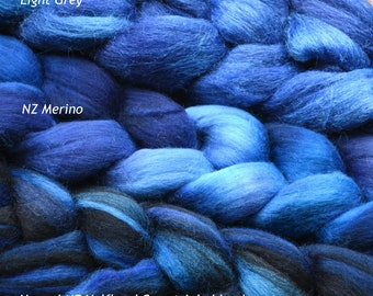 """Hand dyed combed tops (roving)  for felting and spinning - 100gr """"Baby Blue"""" on multi bases"""