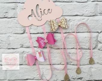 Personalised Cloud Hair Bow Holder, Hair Clip Holder, Girls Hair Accessory Holder, Bow Organiser. 3 ribbon strands