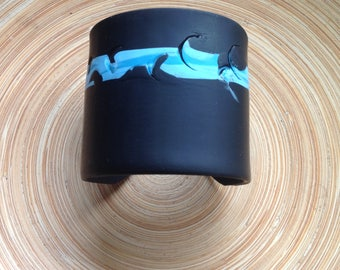 Black And Turquoise Abstract Design, cuff bracelet, handmade OOAK jewelry by theshagbag on Etsy