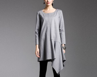 Cotton dress - Dress fall/winter - Short dress classic - Round Neck - Long sleeves dress - Made to order