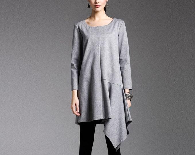 Cotton dress - Dress fall/winter - Short dress classic - Round Neck - Long sleeves dress - Made to order