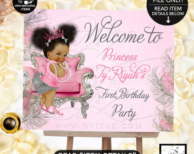 Pink & Silver First Birthday Welcome Sign, Afro Puffs Princess Decorations Birthday Baby Girl, African American Birthday Poster, Gvites