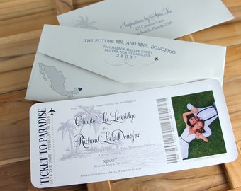 Boarding Pass Save The Dates, Ticket to Paradise, Save The Date