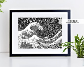 The Great Wave of Kanagawa print, Hokusai art, Famous wave, Homedecor, Famous Painting art, Wave decor art, surfing wave, hokusai art print