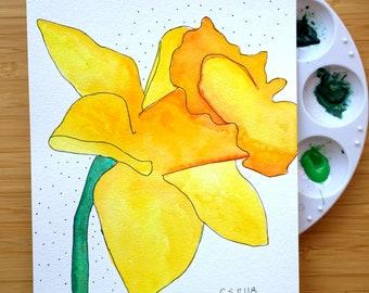 Daffodil, botanical painting, original watercolor art