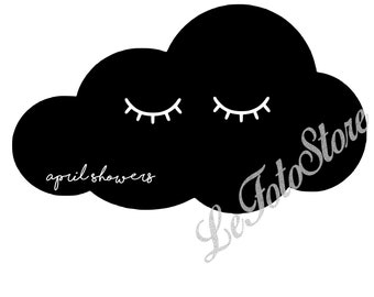 April Showers Bring May Flowers sad cloud Cuttable Design File Silhouette Designs Cameo