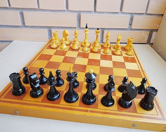 Old wooden chess set 70-ies,  soviet chess set vintage