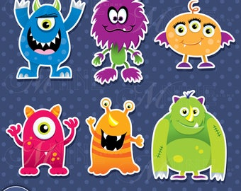 MONSTERS Sticker Clip Art / MONSTER Clipart Downloads / Monster Theme Clipart, Vector Clipart Monsters