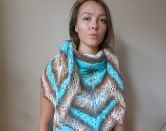 Lace Shawl Mohair Yarn Blue Beige Brown Triangular Shawl, Hand Knitted