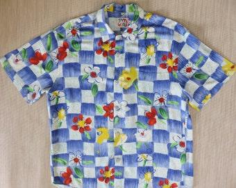 Hawaiian Shirt JAMS WORLD Vintage 80s Flower Power Checker Board Copyrighted Print Aloha Beach Picnic Surfer Mens -L- Oahu Lew's Shirt Shack