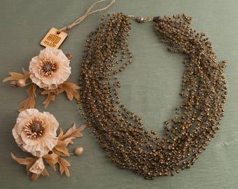 Poppy jewelry set ‒ Jewelry set ‒ Necklace ‒ Hair clips ‒ Poppy hair vine ‒ Polymer clay ‒ Flowers necklace ‒ Beads necklace