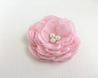Light Pink Flower Hair Piece.Peony Bridal Headpiece.Pink Peony Hair Clip.Pale Pink flower.Pink pin.chiffon.flower hair accessory.fascinator