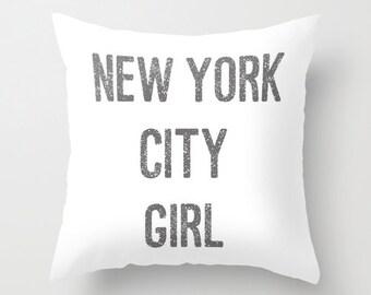 New York City Girl Velvet Pillow Cover, New York City Decor, Girls Pillows, Teen Girl Room Decor, Dorm Pillows, Girls Bedroom, Gift for Her