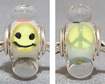 Glow In The Dark Handmade Lampwork Euro Charm Limited Edition Summer Of Love