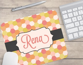 Coral and Pink Mouse Pad, Honeycomb Mouse Pad, Retro Mouse Pad, Custom Mouse Pad, Mouse Pad For Work (0018)