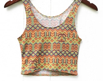 SALE Cropped Yoga Layering Tank Top for Women - Limited Edition Tribal Print - Eco Friendly - Fitted - Organic Clothing