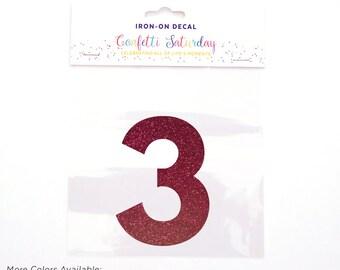 Pink Glitter 3 Decal Third 3rd Birthday Shirt Iron On Transfer Red Three | GLITTER