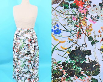 1970s maxi skirt | white nature floral photo print skirt | vintage 70s skirt | W 29""