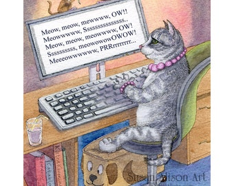 Tabby cat 5x7, 8x10 and 11x14 inch print writing author novelist writer working on computer typing happy ending from Susan Alison painting