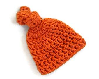 Crocheted Top-Knot Beanie Newborn Baby Handmade Photo Prop