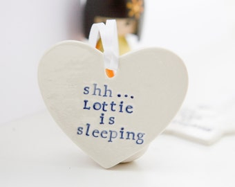 Custom Nursery Door Hanger Heart, Baby Sleeping Door Sign