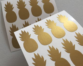 Gold Pineapple Stickers, Tropical Seal Stickers, Gold Envelope Seals, Gift Wrapping Stickers, Reward Stickers, Pineapple Planner Stickers