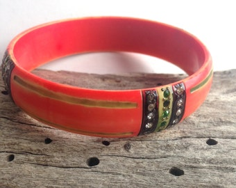 colored bright red vintage celluloid bangle rhinestones inlay and carving