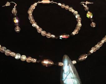 Labradorite and Swarovski Necklace, Bracelet, & Earrings Set