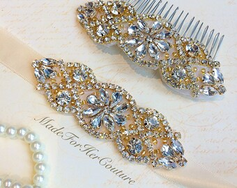 gold rhinestone sash, gold rhinestone belt, gold hair comb, gold headband, gold wedding sash, wedding dress belt, gold bridal sash