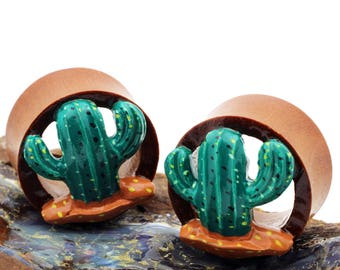 Double Flare Organic Wood Tunnel Plugs Cactus Cacti Plant